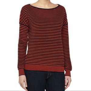 Halston H Heritage Sweater Striped Orange & Blue